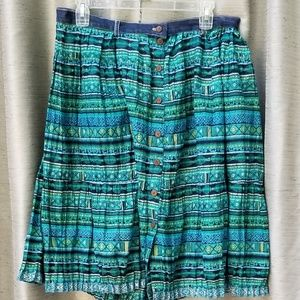 NEW Green Multi Skirt Size 16 Cotton
